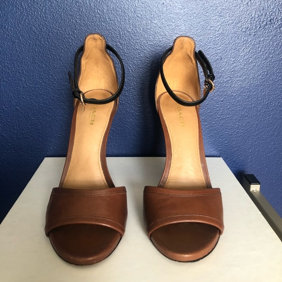Coach Shoes - Juliette Leather Brown/Black Ankle Strap Heel